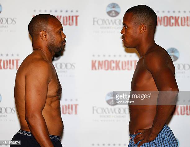 Roy Jones Jr. Faces off against Eric Watkins during the weigh in for the season two finale of NUVOtv's Knockout at Foxwoods Resort Casino on August...