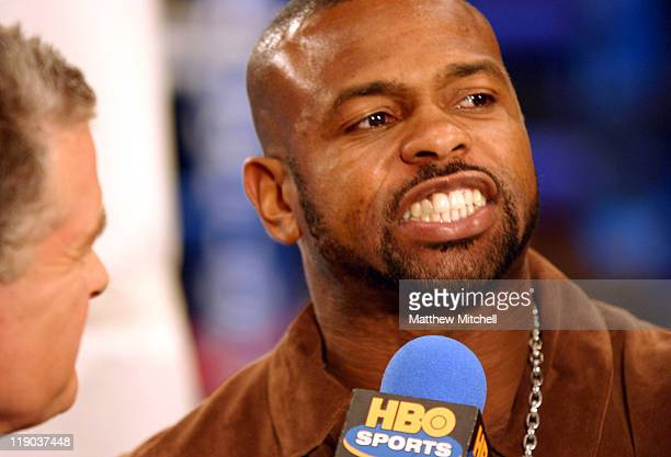 Roy Jones Jr is interviewed before the WBC lightweight championship fight between Floyd Mayweather Jr and Phillip Ndou.