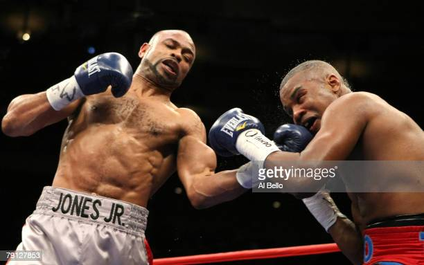 Roy Jones Jr. Lands a left hand upper cut against Tito Trinidad during their Light Heavyweight bout at Madison Square Garden January 19, 2008 in New...