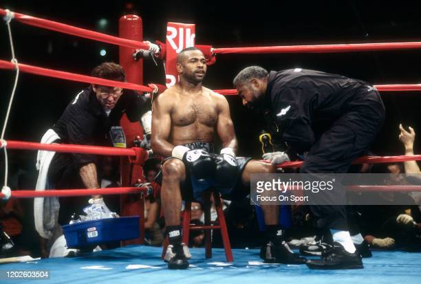 Roy Jones Jr. Looks on from his corners while fighting Richard Hall for the WBA, WBC and IBF light heavyweight titles on May 13, 2000 at the Conseco...