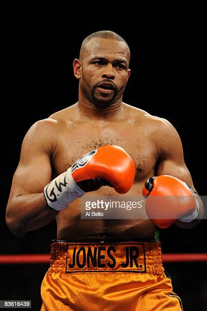 Roy Jones Jr looks on while fighting against Joe Calzaghe during their Ring Magazine Light Heavyweight Championship bout at Madison Square Garden...