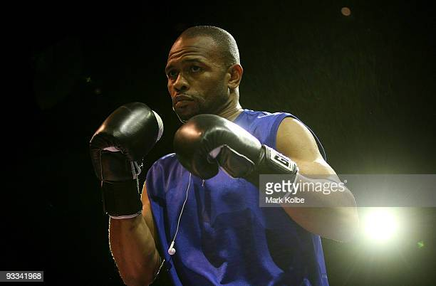 Roy Jones Jr of the USA spars with his trainer during a training session at Star City on November 24, 2009 in Sydney, Australia. Jones will fight...