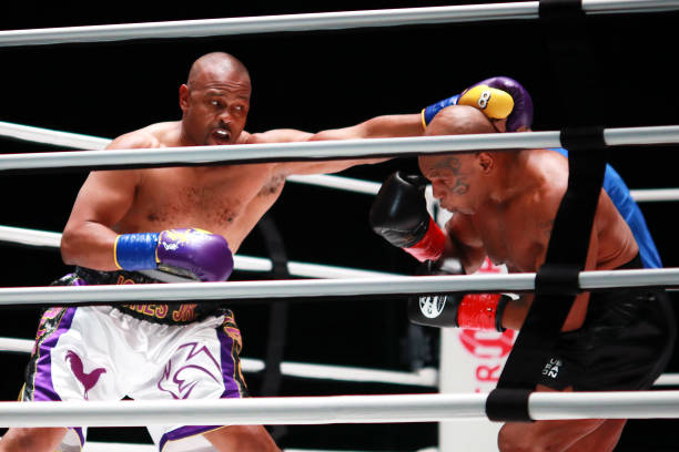 Roy Jones Jr. Throws a punch in the second round against Mike Tyson during Mike Tyson vs Roy Jones Jr. Presented by Triller at Staples Center on...