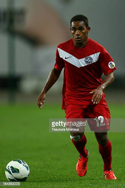 Roy Kayara of New Caledonia looks to pass during the FIFA World Cup Qualifier match between the New Zealand All Whites and New Caledonia at Forsyth...