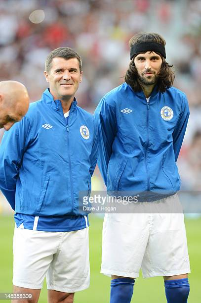 Roy Keane and Sergio Pizzorno attend Soccer Aid 2012 in aid of Unicef at Old Trafford on May 27, 2012 in Manchester, England.