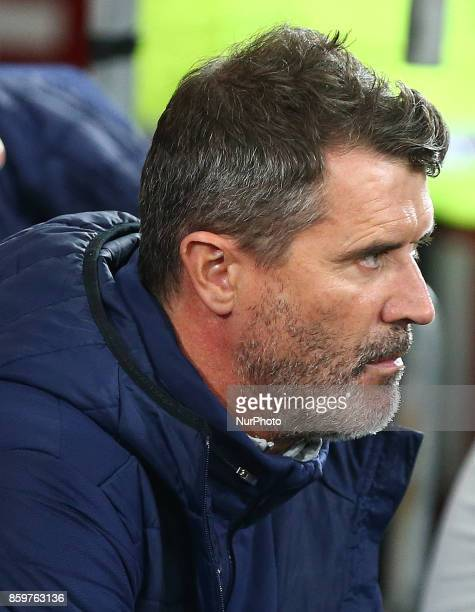 LR Roy Keane Assistant manager of Republic of Ireland during Ireland supporters celebrate the teams win at full time FIFA World Cup Qualifying...