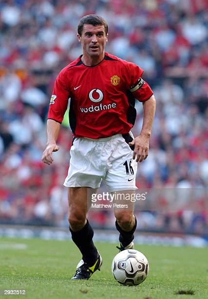Roy Keane in action during the FA Barclaycard Premiership match between Manchester United v Arsenal at Old Trafford on September 21, 2003 in...