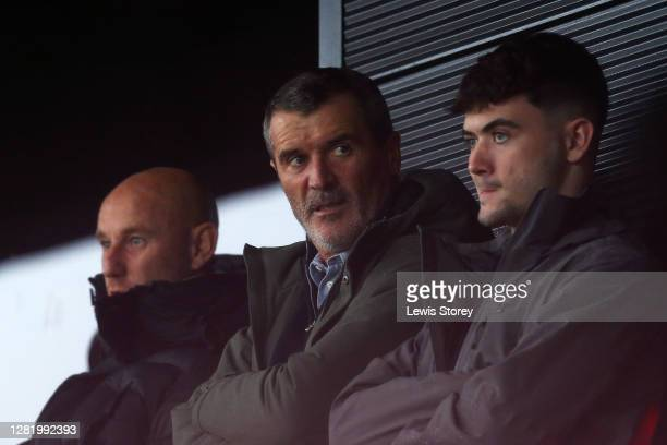 Roy Keane is seen in attendance during the Sky Bet League Two match between Salford City and Crawley Town at Moor Lane on October 24, 2020 in...