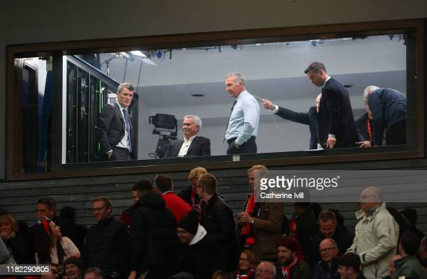 Roy Keane, Jose Mourinho and Graeme Souness sit in the television studio during the Premier League match between Manchester United and Liverpool FC...