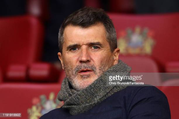 Roy Keane looks on during the Premier League match between Burnley FC and Manchester City at Turf Moor on December 03, 2019 in Burnley, United...