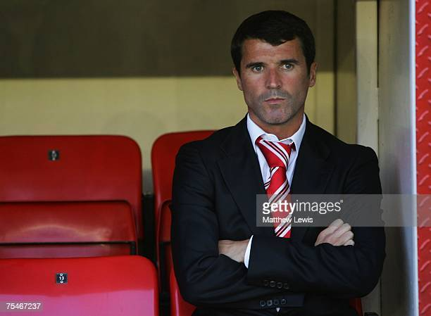 Roy Keane manager of Sunderland looks on from the bench during the PreSeason Friendly match between Darlington and Sunderland at the Darlington Arena...