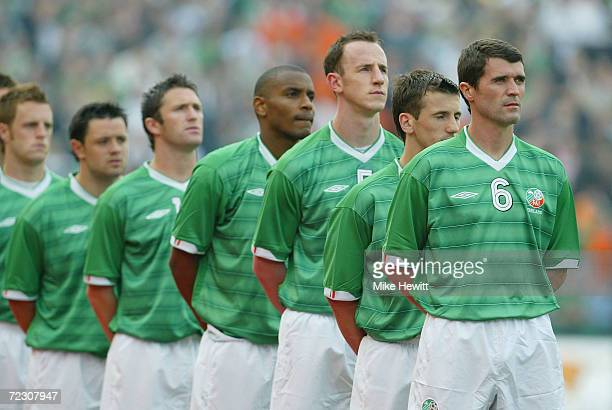 Roy Keane of Ireland lines up for the National Anthem for the first time in two years before the International friendly between Republic of Ireland...