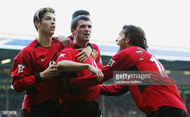 Roy Keane of Man Utd celebrates with Ruud Van Nistelrooy and Cristiano Ronaldo after scoring the winning goal during the FA Barclaycard Premiership...