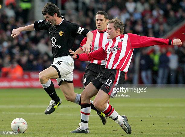 Roy Keane of Manchester United clashes with Anders Svensson of Southampton during the FA Cup Sixth Round match between Southampton and Manchester...