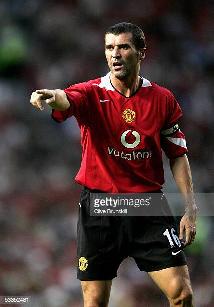 Roy Keane of Manchester United during the Champions League third qualifying round, first leg match between Manchester United and Debreceni VSC at Old...