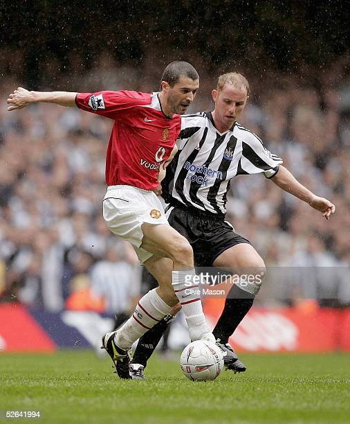 Roy Keane of Manchester United holds off Nicky Butt of Newcastle United during the FA Cup SemiFinal match between Manchester United and Newcastle...