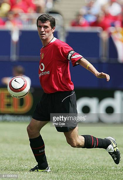 Roy Keane of Manchester United in action during the Champions World Series match between Manchester United and AC Milan at Giants Stadium on July 31,...