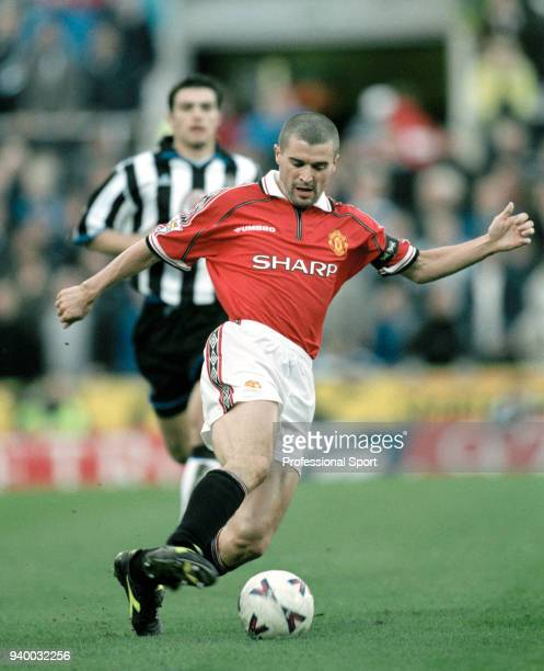 Roy Keane of Manchester United in action during the FA Carling Premiership match between Newcastle United and Manchester United at St James' Park on...