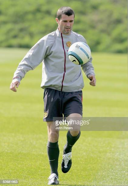 Roy Keane of Manchester United in action on the ball during a first team training session at Carrington Training Ground on 22 April 2005, in...