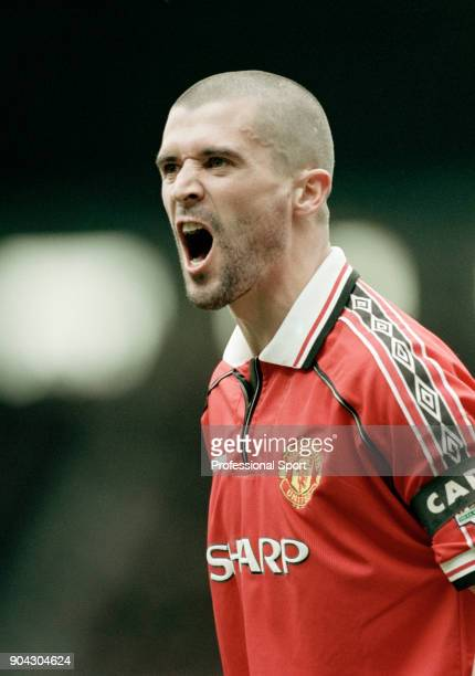 Roy Keane of Manchester United shouting during the FA Carling Premiership match between Manchester United and Sunderland at Old Trafford on April 15...