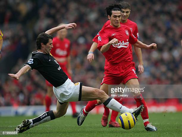 Roy Keane of Manchester United tackles Luis Garcia of Liverpool during the Barclays Premiership match between Liverpool and Manchester United at...