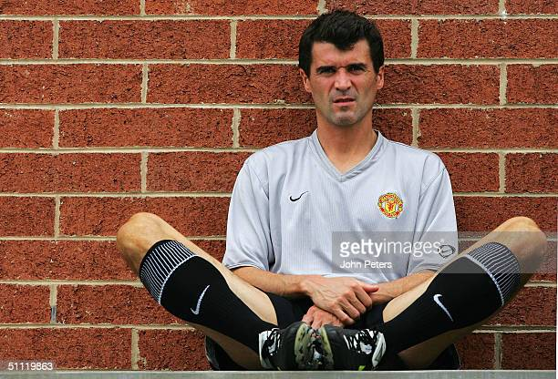 Roy Keane of Manchester United takes a break during a training session during their 2004 USA Tour, which is taking in pre-season friendly matches in...