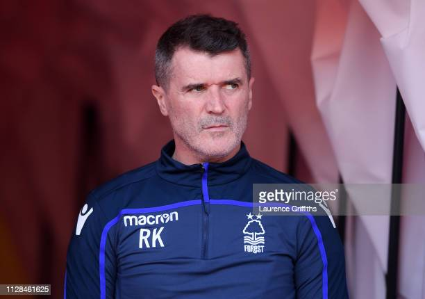 Roy Keane of Nottingham Forest looks on prior to the Sky Bet Championship match between Nottingham Forest and Brentford at City Ground on February...