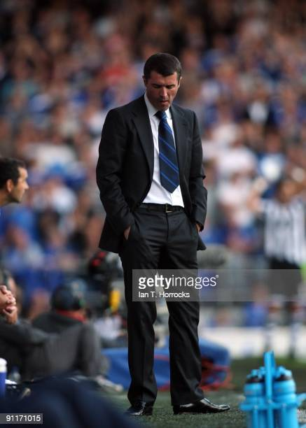 Roy Keane the Ipswich manager looks downwards during the CocaCola Championship match between Ipswich Town and Newcastle United at Portman Road...