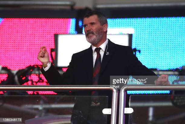 Roy Keane TV pundit looks on from the TV Studio during the international friendly match between England and the Republic of Ireland at Wembley...