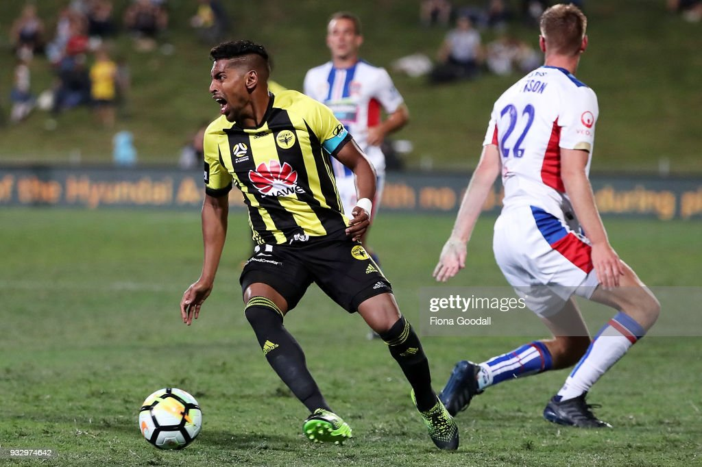 Roy Krishna captain of the Wellington Phoenix looks to shoot during the round 23 A-League match between the Wellington Phoenix and the Newcastle Jets at QBE Stadium on March 17, 2018 in Auckland, New Zealand.