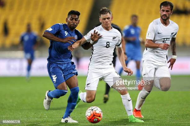 Roy Krishna of Fiji and Michael McGlinchey of New Zealand compete for the ball during the 2018 FIFA World Cup Qualifier match between the New Zealand...