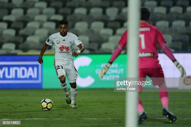 Roy Krishna of the Phoenix attempts a kick at goal during the round 21 ALeague match between the Central Coast Mariners and the Wellington Phoenix at...