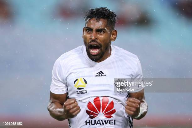 Roy Krishna of the Phoenix celebrates scoring a goal during the round 12 ALeague match between the Western Sydney Wanderers and the Wellington...