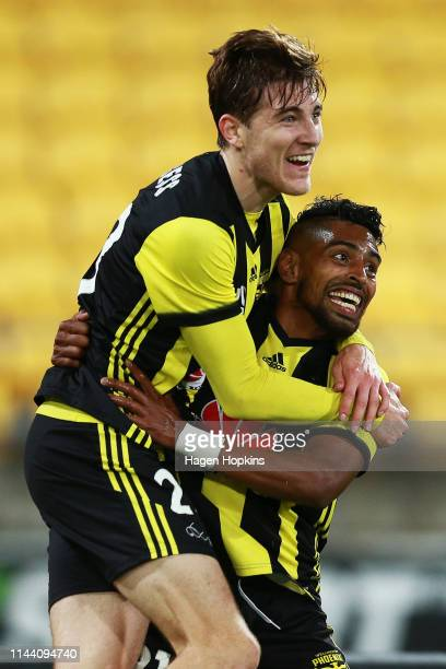 Roy Krishna of the Phoenix celebrates with Max Burgess after scoring a goal during the round 26 ALeague match between the Wellington Phoenix and...