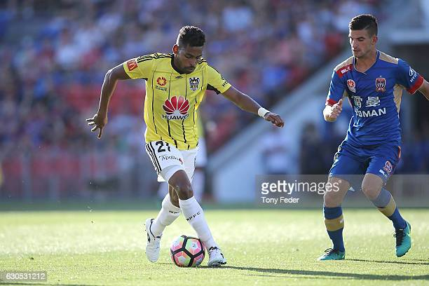 Roy Krishna of the Phoenix controls the ball during the round 12 ALeague match between the Newcastle Jets and the Wellington Phoenix at McDonald...