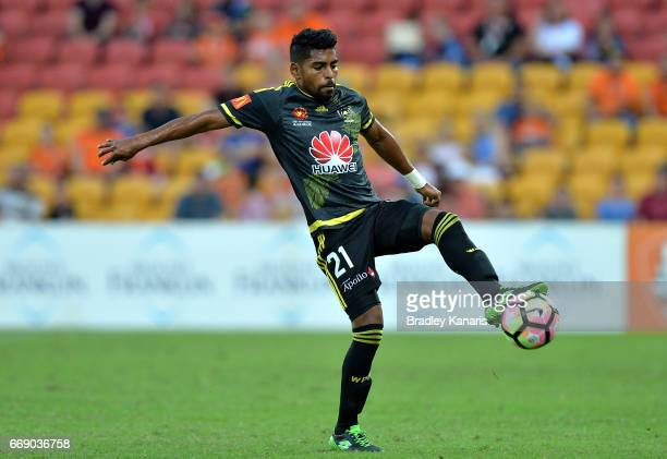 Roy Krishna of the Phoenix controls the ball during the round 27 ALeague match between the Brisbane Roar and the Wellington Phoenix at Suncorp...