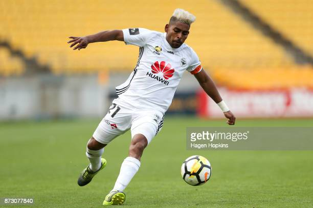 Roy Krishna of the Phoenix in action during the round six ALeague match between the Wellington Phoenix and the Perth Glory at Westpac Stadium on...