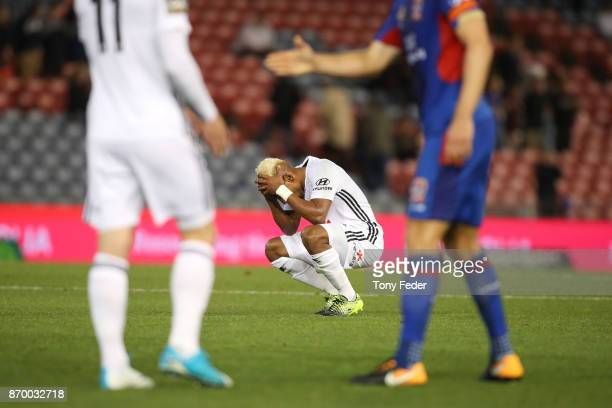Roy Krishna of the Phoenix looks dejected after losing to the Jets during the round five ALeague match between the Newcastle Jets and the Wellington...