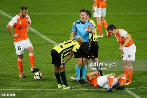 Roy Krishna of the Phoenix referee Jarred Gillett and Matt McKay of Brisbane check on the health of Luke DeVere of Brisbane during the round four...