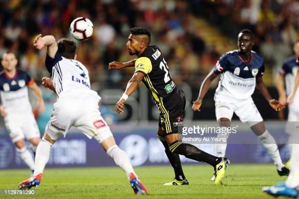Roy Krishna of the Phoenix takes a shot to score the first goal during the ALeague match between the Wellington Phoenix and the Melbourne Victory at...