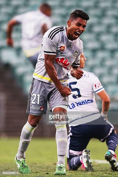Roy Krishna of the Wellington Phoenix celebrates after Rolieny Bonevacia of the Wellington Phoenix scored attacks goal during the round nine A-League...