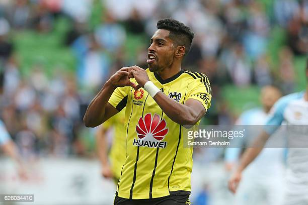 Roy Krishna of Wellington Phoenix celebrates his goal during the round eight ALeague match between Melbourne City and Wellington Phoenix at AAMI Park...