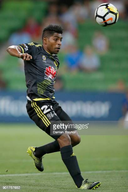Roy Krishna of Wellington Phoenix controlls the ball during the round 14 ALeague match between Melbourne City and the Wellington Phoenix at AAMI Park...
