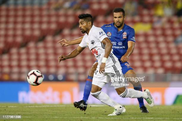 Roy Krishna of Wellington Phoenix is contested by Nikolai ToporStanley of the Newcastle Jets during the round 18 ALeague match between the Newcastle...