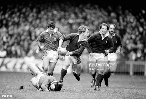 Roy Laidlaw of Scotland about to pass the ball during the Wales v Scotland Rugby Union International played at Cardiff Arms Park on the 21st January...