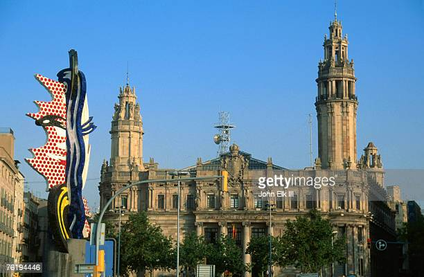 Roy Lichtenstein sculpture in front of historic building, Sea Front, Barcelona, Catalonia, Spain, Europe