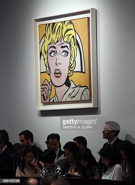 Roy Lichtenstein's 'Nurse' hangs on the wall during the 'Artist Muse A Curated Evening Sale' November 9 2015 at Christie's New York November 9 2015...