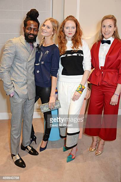 Roy Luwolt Managing Director of Malone Souliers Poppy Delevingne Lily Cole and Mary Alice Malone Creative Director of Malone Souliers attends the...