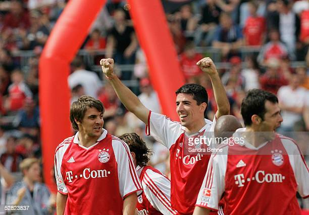 Roy Makaay and Sebastian Deisler of Bayern celebrate a goal during the Bundesliga match between FC Bayern Munich and 1FC Nuremberg at the Olympic...