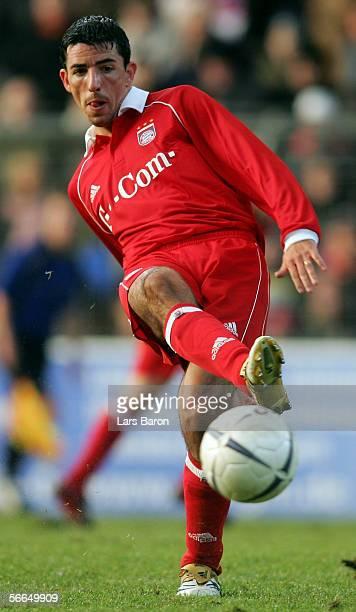 Roy Makaay of Bayern Munich strikes the ball during the friendly match between KFC Uerdingen and Bayern Munich on January 21 2006 in Krefeld Germany